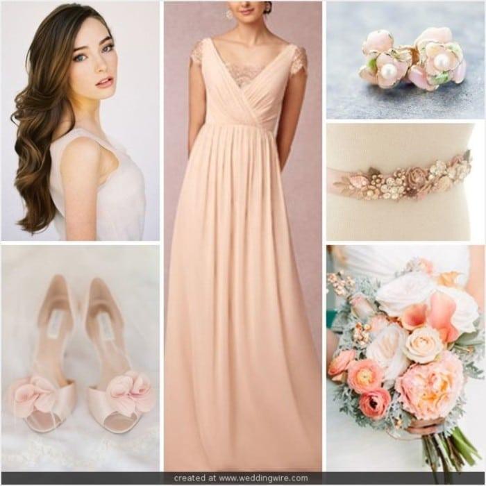 Образ невесты в розовом платье