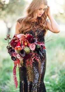 свадебное платье осень блестки