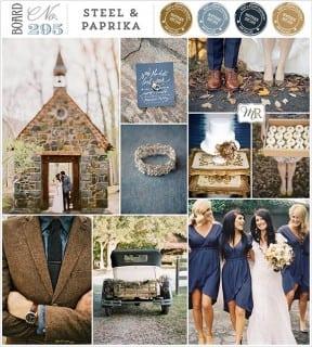 палитра для свадьбы осень синий коричневый