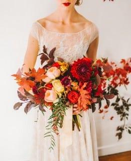 букет невесты осень оранжевый